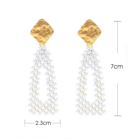 Kolczyki wiszące perełki trójkąt K1256