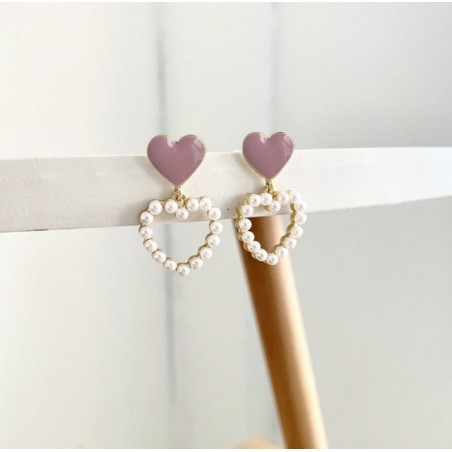 Kolczyki wiszące perełki delikatne serca K1181 zapięcie S925