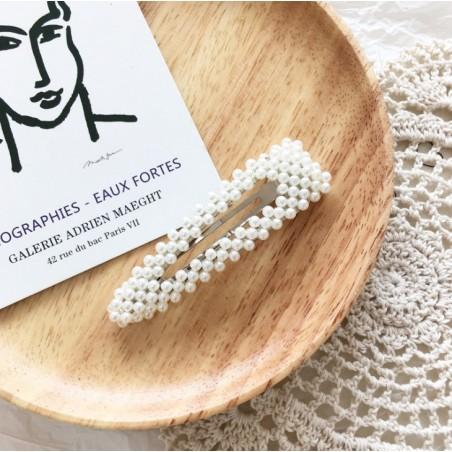 Spinka do włosów z perełkami perły srebrna SP33S