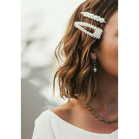 Spinka do włosów z perełkami perły srebrna SP34S