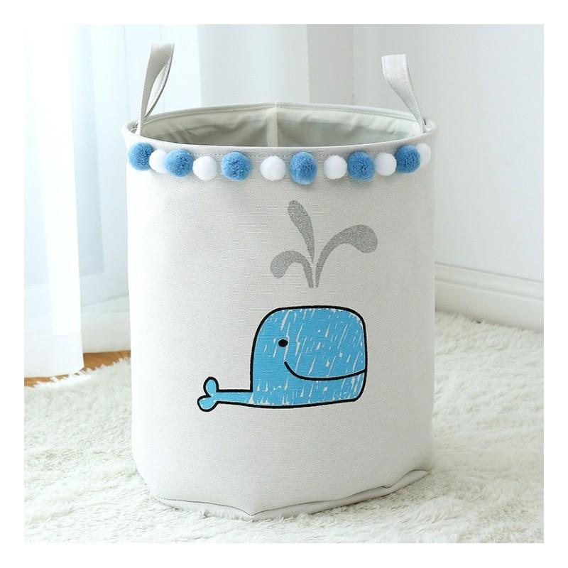 Pojemnik na zabawki, kosz, worek na pranie niebieski wieloryb OR30WZ1