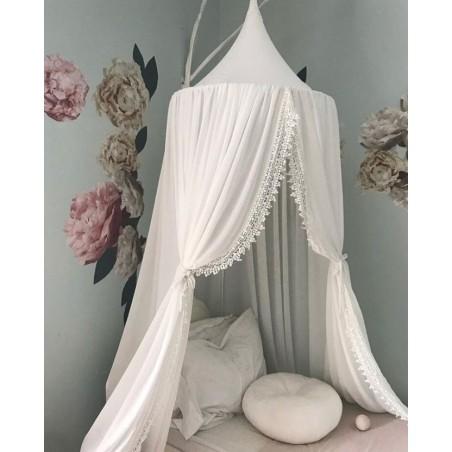 Baldachim do łóżeczka koronka, duży, gęsty, biel BAL3B