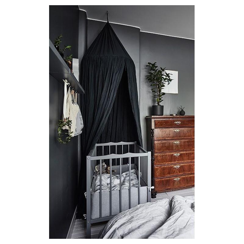 Baldachim do łóżeczka prosty, duży, gęsty, czarny BAL4CZ