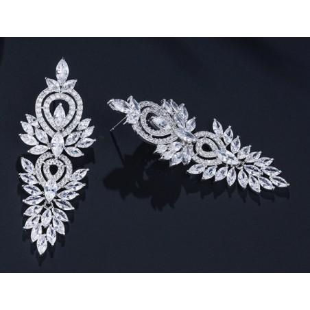 Kolczyki ślubne wiszące z kryształkami stal szlachetna KSL49