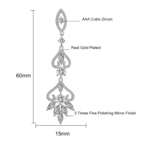 Kolczyki ślubne wiszące z kryształkami stal szlachetna KSL52