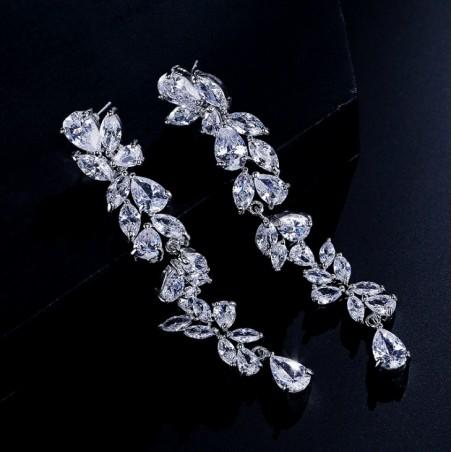 Kolczyki ślubne wiszące z kryształkami stal szlachetna KSL54