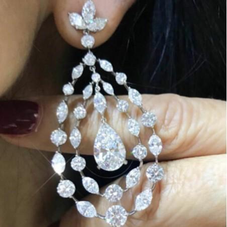 Kolczyki ślubne wiszące z kryształkami stal szlachetna KSL55