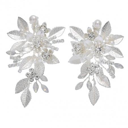 Kolczyki ślubne wiszące z kryształkami dżetowe HANDMADE KSL42