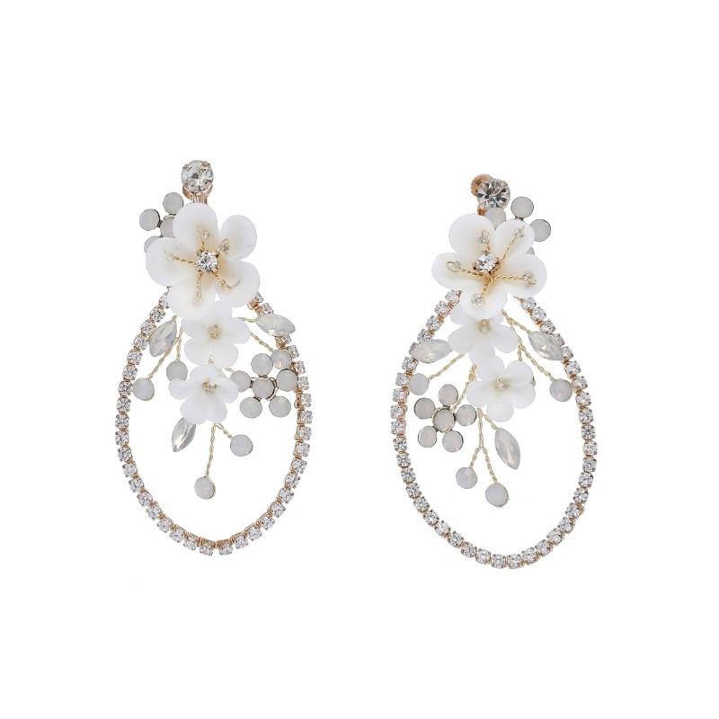 Kolczyki ślubne wiszące z kryształkami dżetowe HANDMADE KSL41