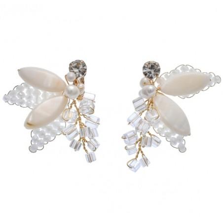 Kolczyki ślubne wiszące z kryształkami dżetowe HANDMADE KSL40