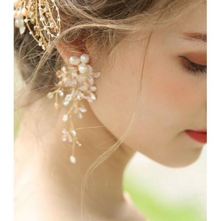 Kolczyki ślubne wiszące z kryształkami dżetowe HANDMADE KSL43