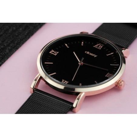 Zegarek damski classy różowe złoto na czarnej bransolecie Z686