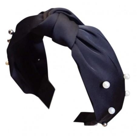 Opaska turban z materiału gruba czerń perełki O215CZ