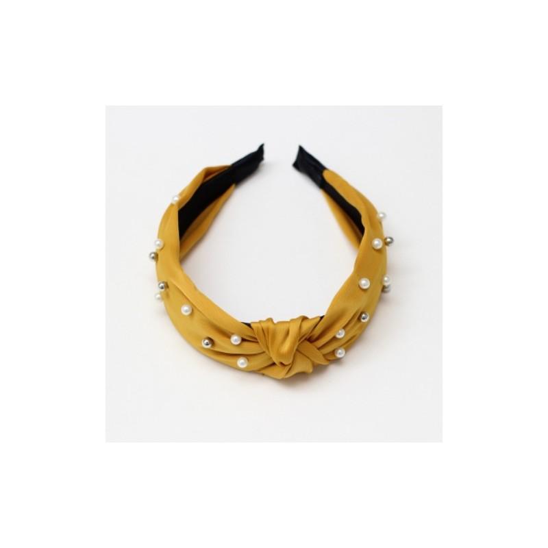 Opaska turban z materiału gruba żółta perełki O215ZO