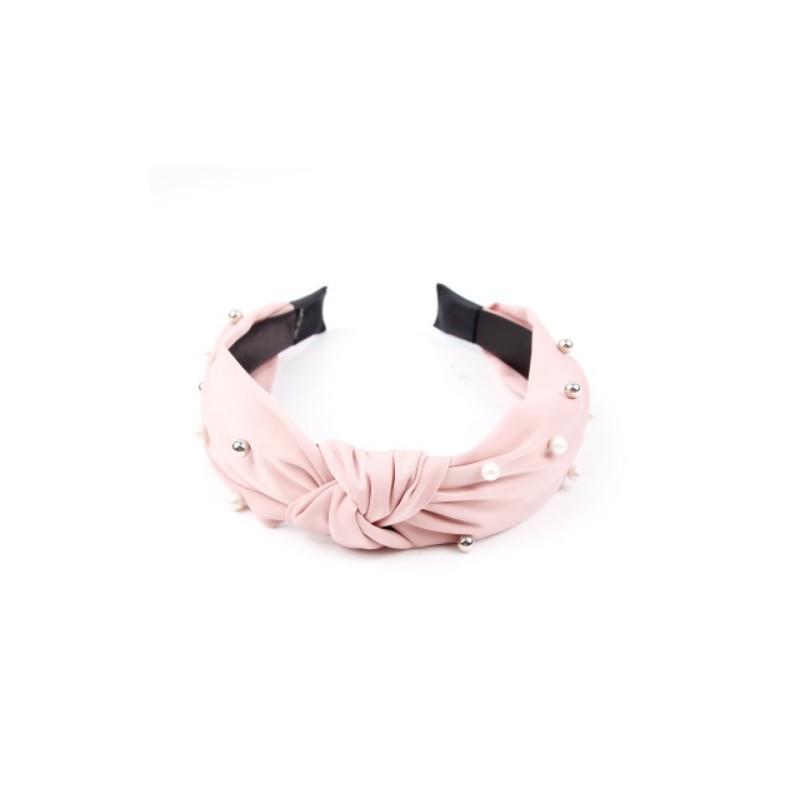 Opaska turban z materiału gruba róż perełki O215R