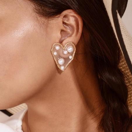 Kolczyki wiszące pearls serce K1232