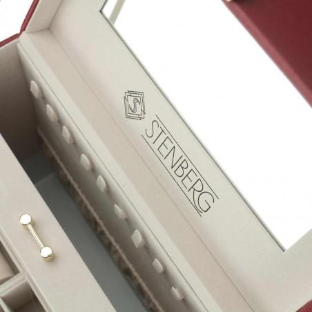 Szkatułka na biżuterię STENBERG kuferek, organizer bordowy PD96BOR
