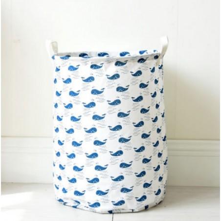 Pojemnik na zabawki lub pranie, kosz, worek niebieskie wieloryby OR2WZ108