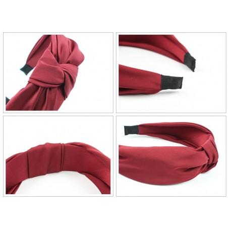 Opaska turban z materiału gruba czerwień O223CZE
