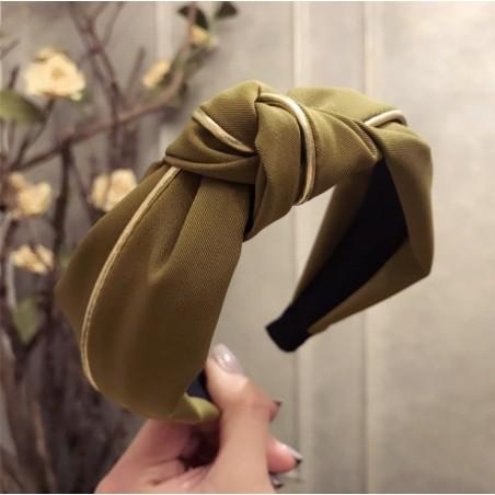 Opaska turban z materiału gruba złocona O219ZIE
