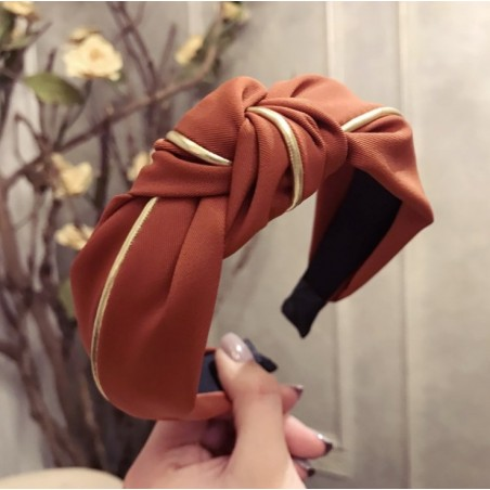 Opaska turban z materiału gruba złocona O219POM