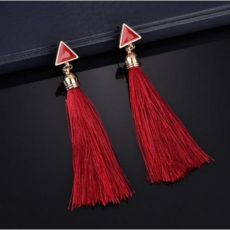 Kolczyki wiszące chwosty czerwone K1030CZE