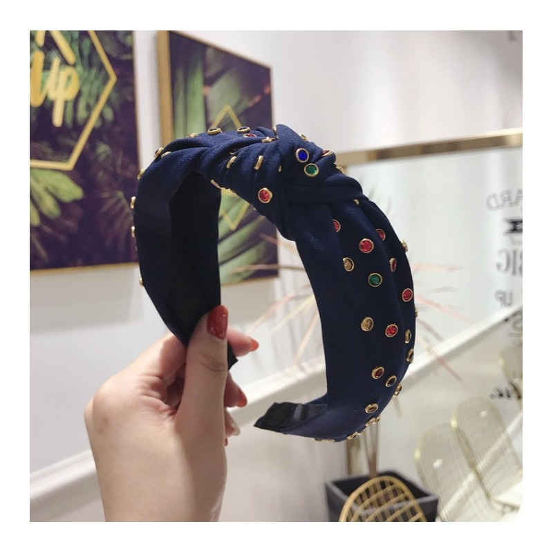Opaska turban z materiału granatowa z kryształkami O218GRAN
