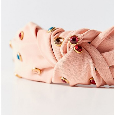 Opaska turban z materiału różowa z kryształkami O218R