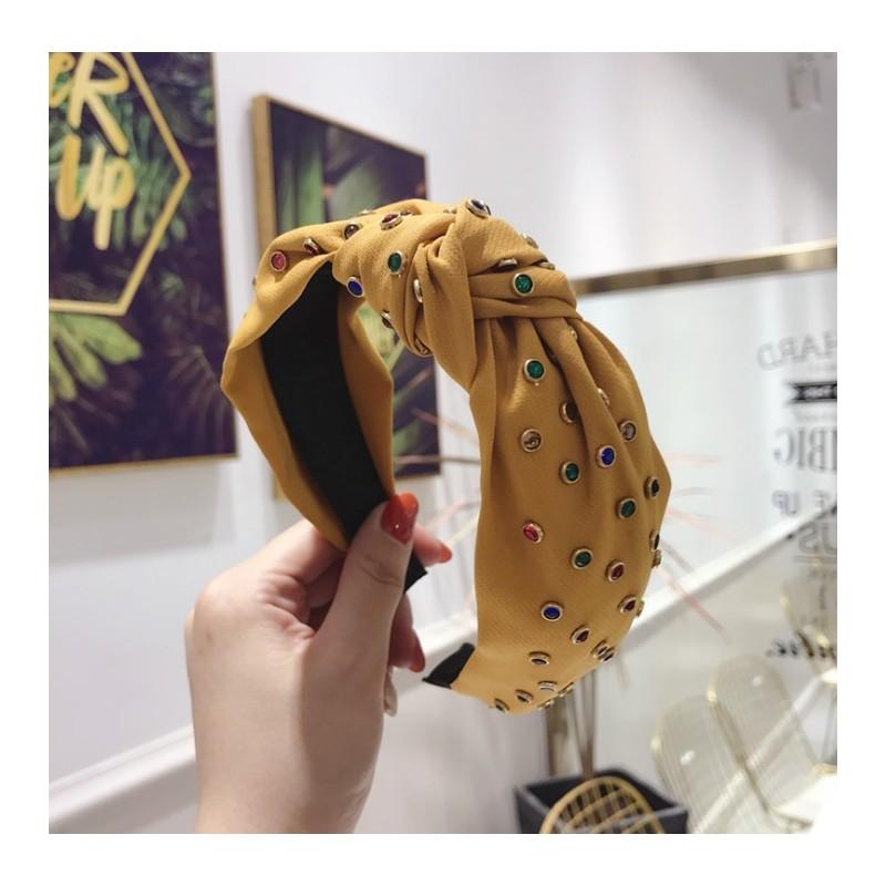 Opaska turban z materiału żółta z kryształkami O218ZO