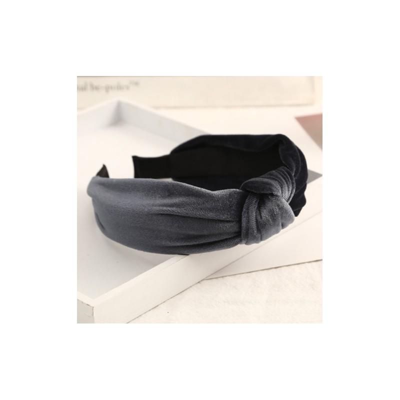 Opaska turban z materiału szara O229SZ