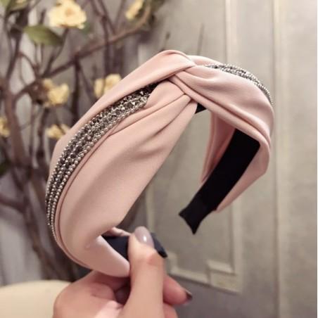 Opaska turban z materiału z kryształkami i perełkami różowa O211R
