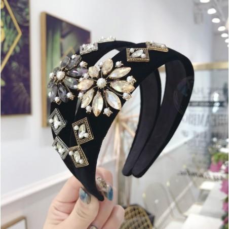 Opaska turban z materiału z kryształkami CZARNA O212SZ