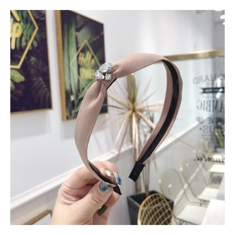 Opaska turban z materiału z kryształkami kremowa O213K