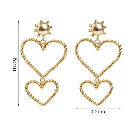 Kolczyki wiszące złote kolekcja serca K1265