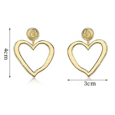 Kolczyki wiszące złote kolekcja serca K1268