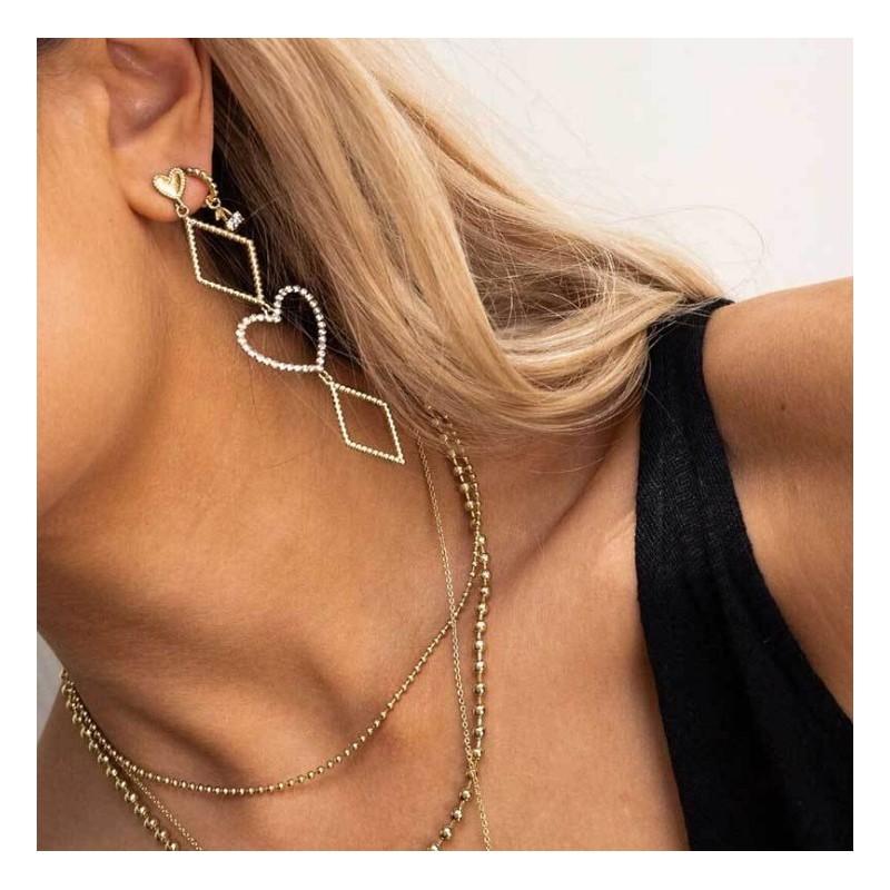 Kolczyki wiszące złote kolekcja serca K1269