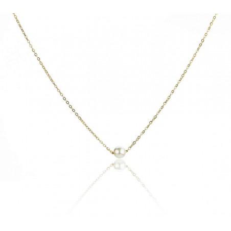 Naszyjnik celebrytka złota z perełką stal chirurgiczna  NST896
