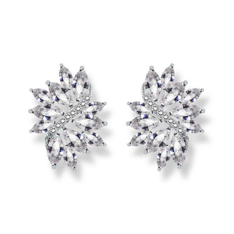 Kolczyki ślubne wiszące z kryształkami stal szlachetna KSL71