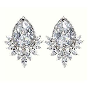 Kolczyki ślubne wiszące z kryształkami srebrne KSL13S