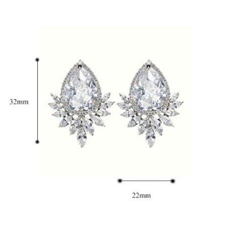 Kolczyki ślubne wiszące z kryształkami stal chirurgiczna KSL68