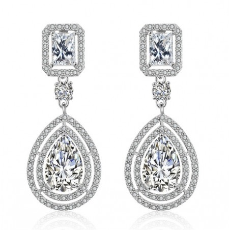 Wedding earrings hanging with crystals, stainless steel KSL63S