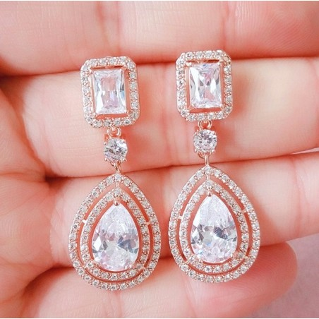 Wedding earrings hanging with crystals, stainless steel KSL63RZ