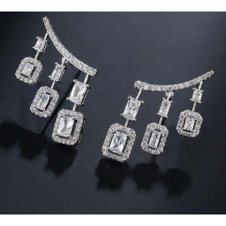 Kolczyki ślubne wiszące z kryształkami stal chirurgiczna KSL61