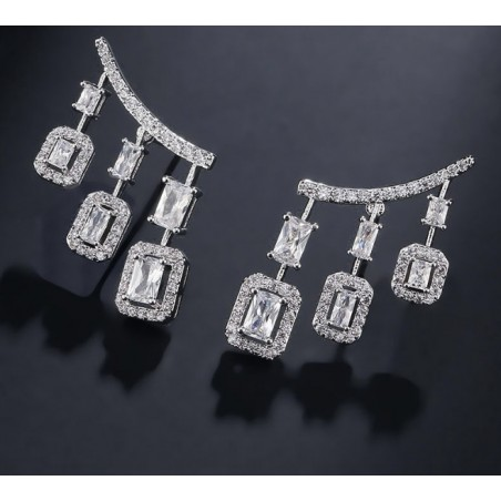 Wedding earrings hanging with crystals, stainless steel KSL61