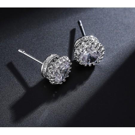 Kolczyki ślubne z kryształkami stal chirurgiczna KSL58S
