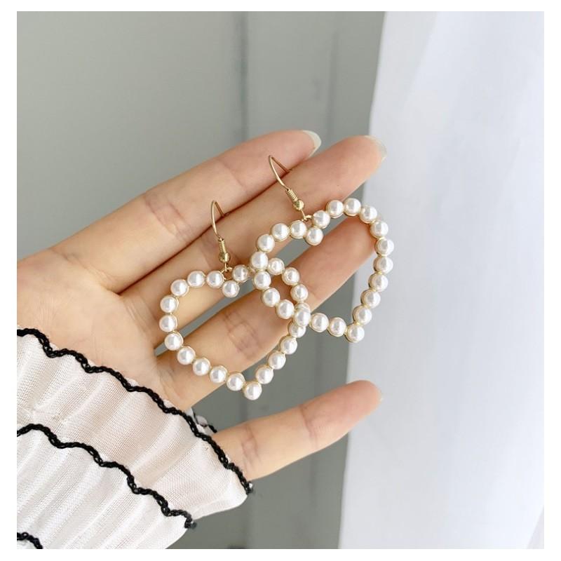 Kolczyki wiszące perełki delikatne serca K1183