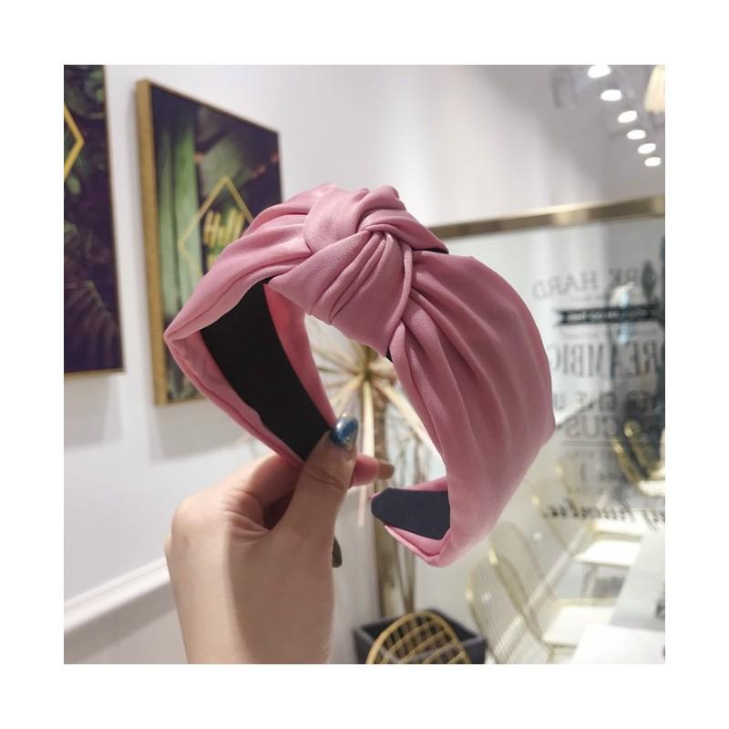Opaska turban z materiału satyna różowa O221R