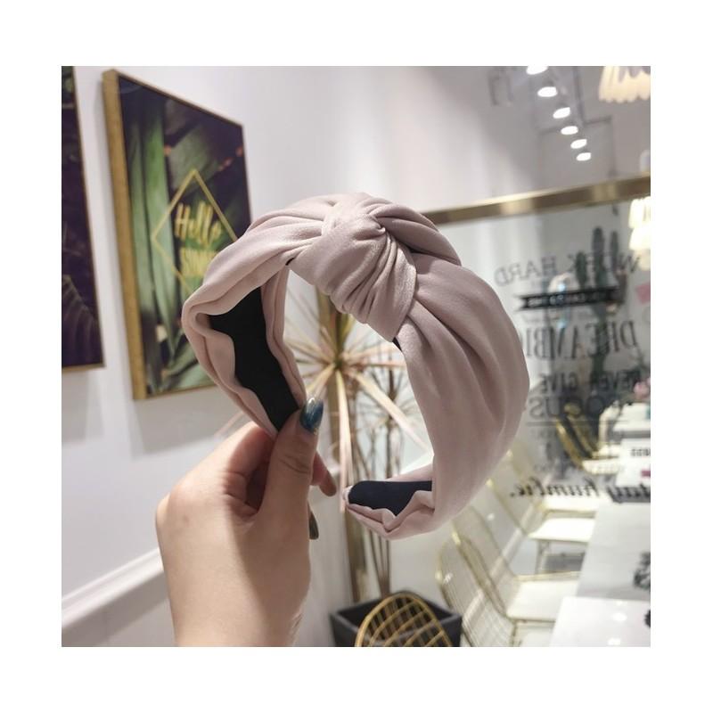 Opaska turban z materiału satyna krem O221K