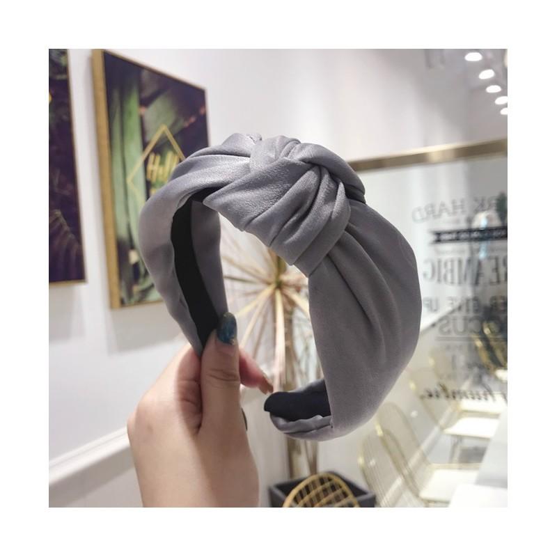 Opaska turban z materiału satyna szarość O221SZ