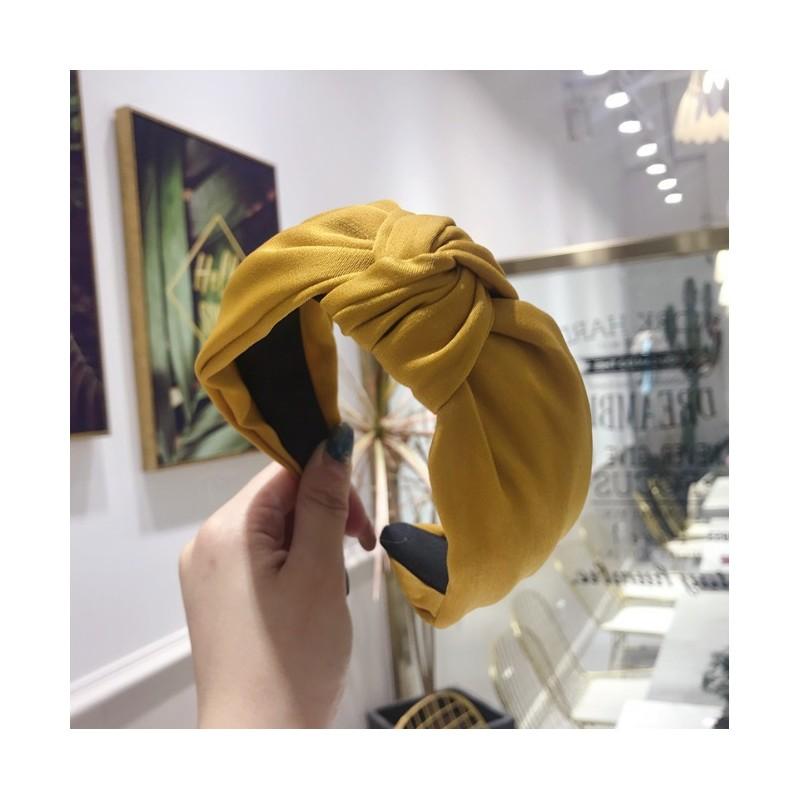 Opaska turban z materiału satyna mustarda O221ZO
